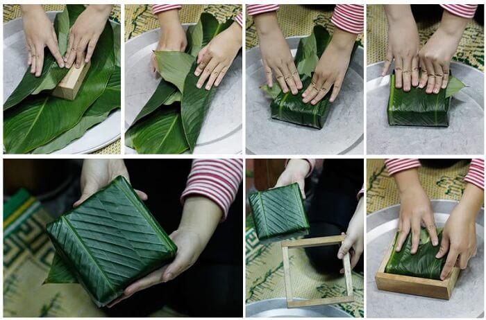 Cách dùng hai khuôn để gói bánh chưng